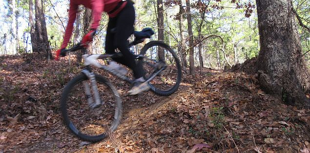 Tough mountain bike trails at Steven's Creek in South Carolina
