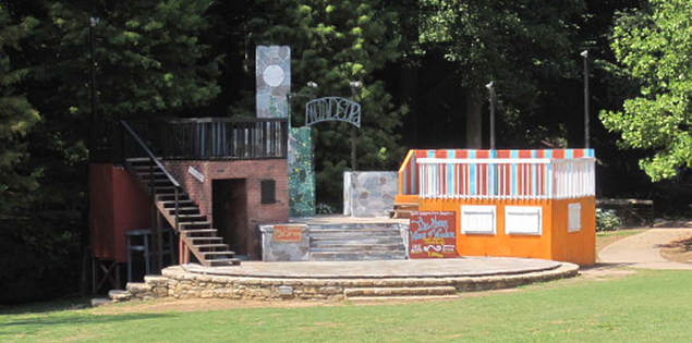 Set for a play at Falls Park in Greenville, South Carolina