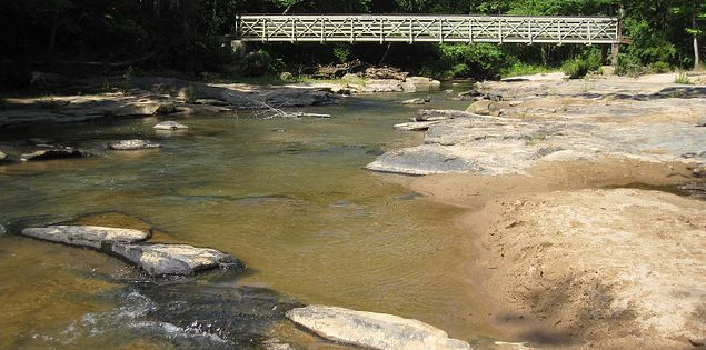 Follow a nature trail in Croft State Park to see the shoals of Fairforest Creek in Spartanburg.