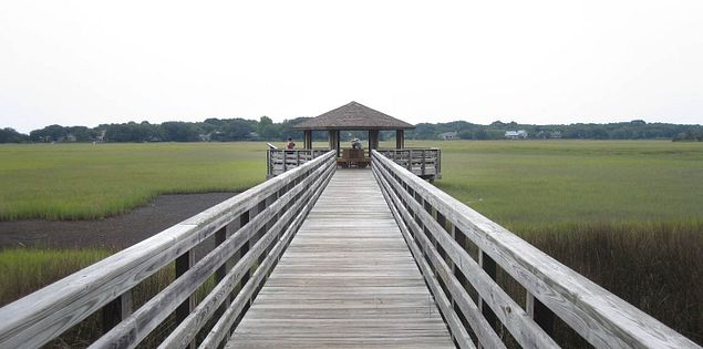 Boardwalk leading out to Fish Haul Creek Park on Hilton Head Island