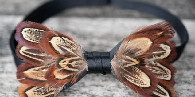 Brackish Bow Ties made out of special turkey feathers in Charleston, South Carolina