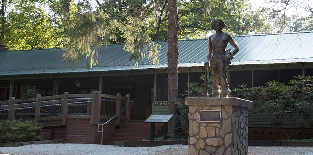 The Civilian Conservation Corps' bronze statue at Oconee State Park