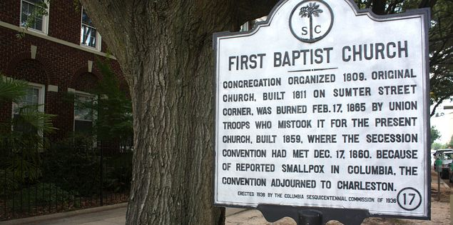 Columbia's First Baptist Church Sign