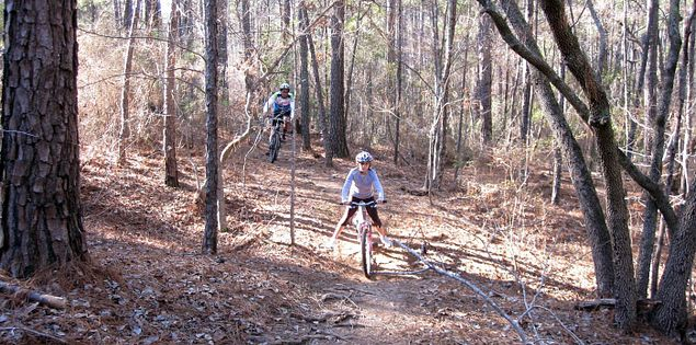 Cyclists in South Carolina's Harbison State Forest