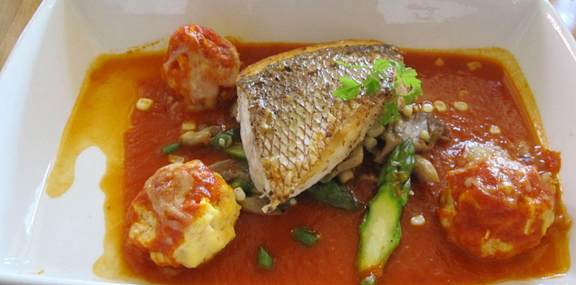 Red porgy and flounder quenelle