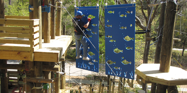 Floating Fishy climbing wall at Aerial Adventures