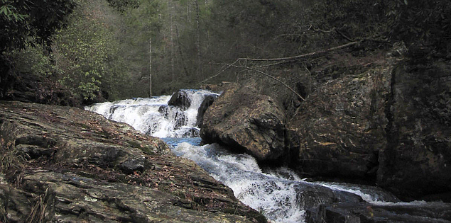 Chauga Narrows flowing through woods in Upstate South Carolina