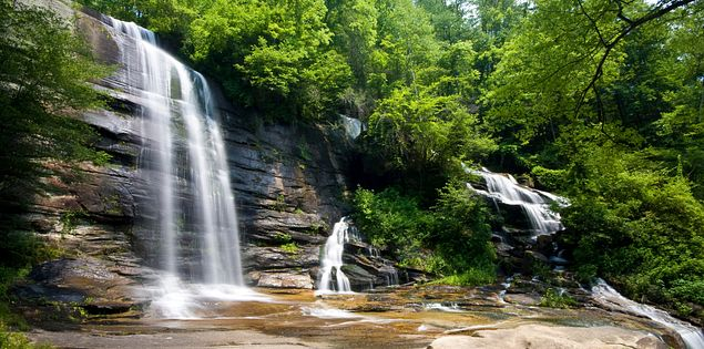 Beautiful Twin Falls Cascades, also known as Reedy Cove Falls