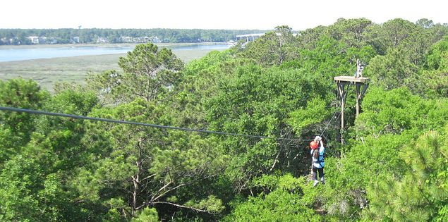 Ziplining over Broad Creek on Hilton Head Island