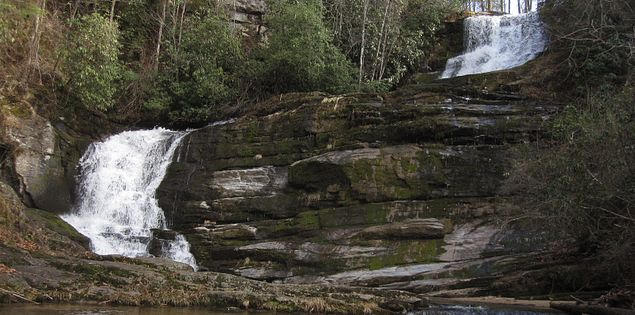 An overlook off the Foothills Trail offers a spectacular view of the 100-foot high falls.