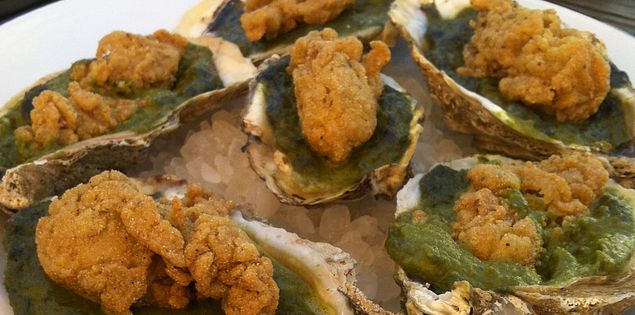 Fried oysters at Leon's restaurant