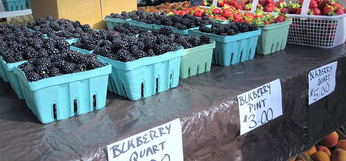 Blackberries being sold at a local farmer's market in South Carolina