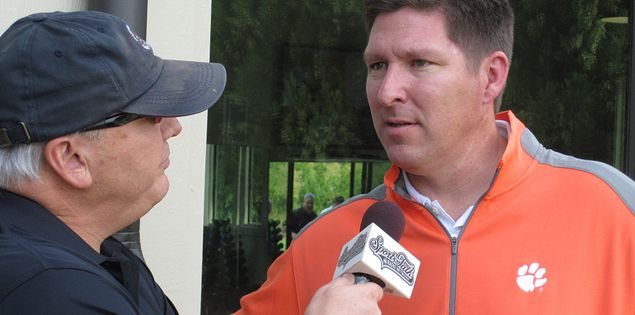 Clemson coach Brad Brownell giving an interview
