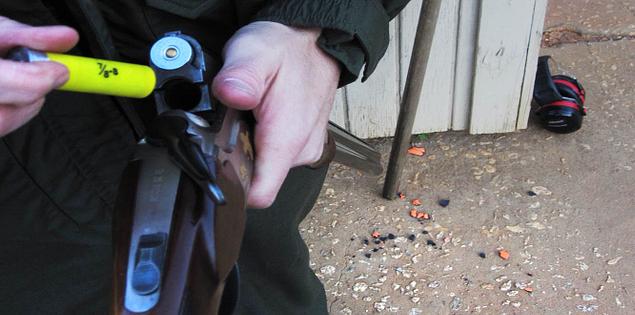 Loading a shotgun for skeet shooting in South Carolina