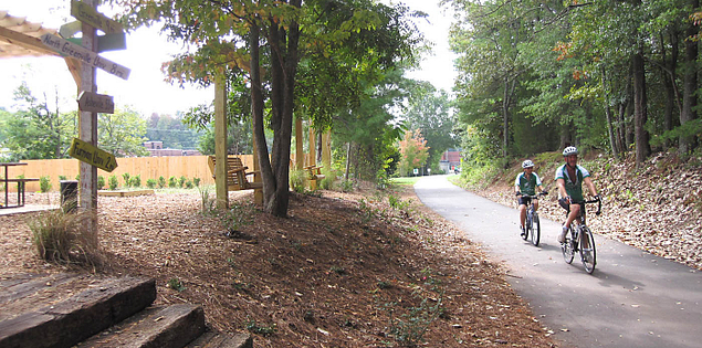 The Swamp Rabbit Trail route in Upstate South Carolina