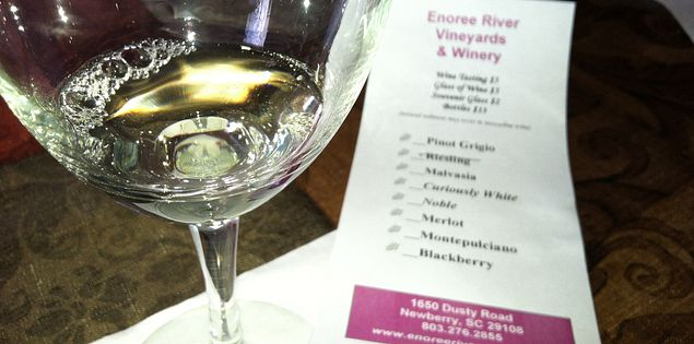 Enoree River wines on tasting menu