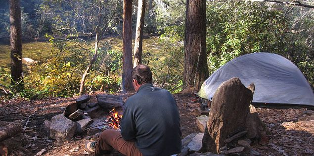 Primitive camping along the Chattooga River in South Carolina