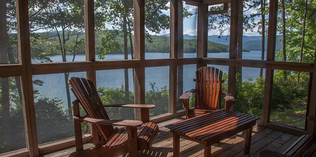 Stunning view of Lake Jocassee from the porch of one of the Devils Fork State Park villas