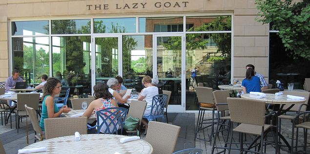 Enjoy a scenic overview of the Reedy River at The Lazy Goat in Greenville, South Carolina.