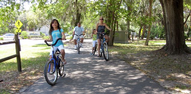 Family biking on the North Augusta Greeneway