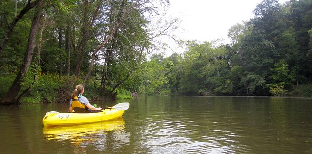 Kayaking through Spartanburg County on the Pacolet River