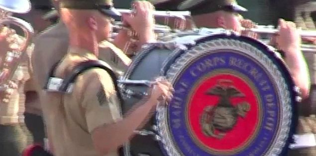Graduation ceremony band at Parris Island's United States Marine base