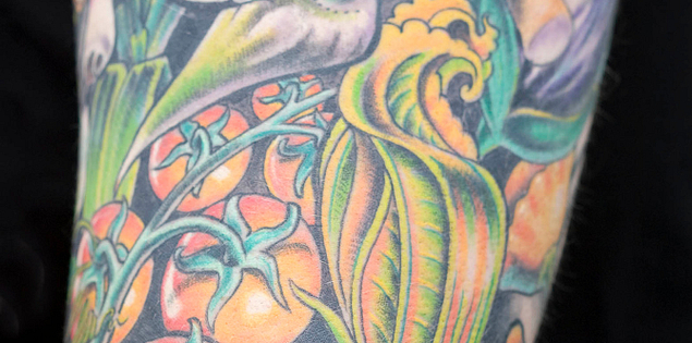 Chef Sean Brock's of McCrady's vegetable tattoo