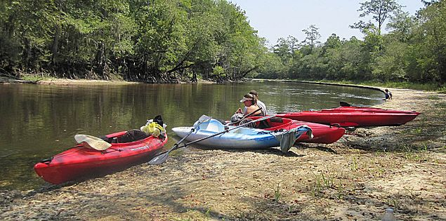 Kayaks on the bank of the Edisto River