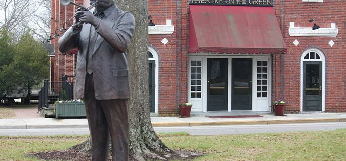 Statue of jazz great Dizzy Gillespie in downtown Cheraw, South Carolina