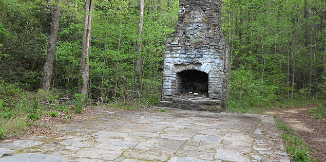 Old Civilian Conservation Corps remains on the Cherokee Foothills Scenic Highway