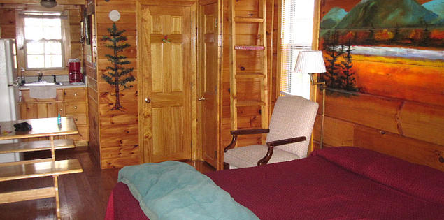 Inside the Foxfire Mountain Cabins in the Mountain Bridge Wilderness Area