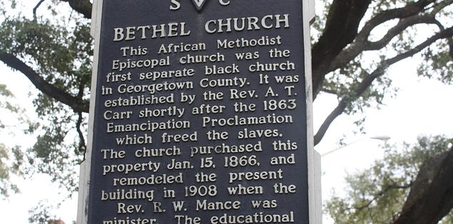 Bethel AME church sign in historic Georgetown