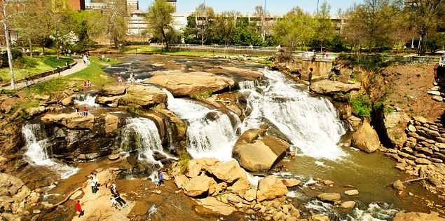 Explore Falls Park in downtown Greenville.