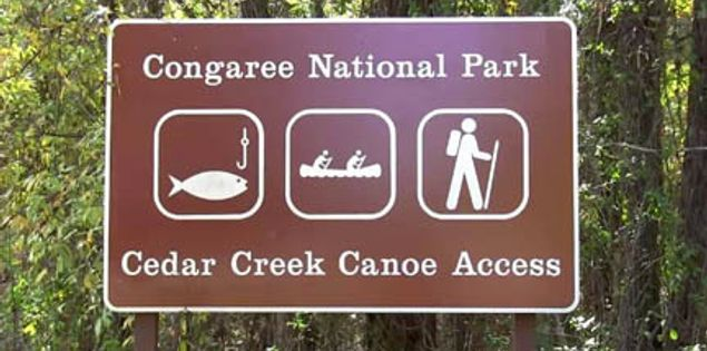Cedar Creek Landing access point to Cedar Creek in Congaree National Park