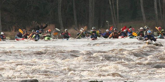 Kayakers competing in Columbia's Millrace Massacre