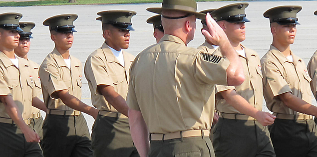 Graduation ceremony at Parris Island's United States Marine base