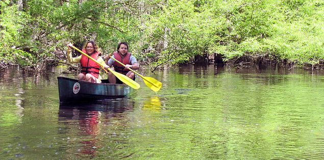 Kayakers paddle along the Edisto River in South Carolina