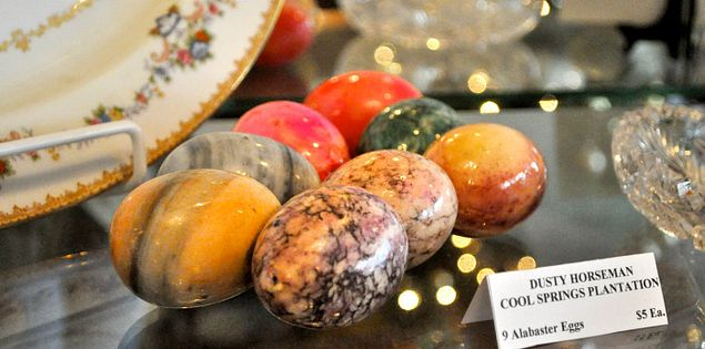 Alabaster eggs in the Cool Springs Plantation in Camden, South Carolina