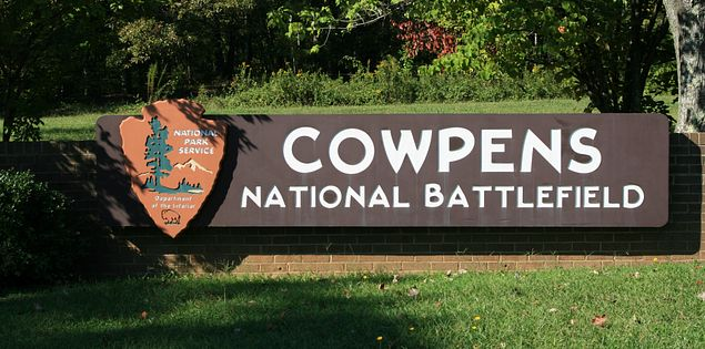 Sign for Cowpens National Battlefield in South Carolina