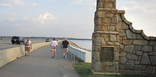 Pedestrian walkway on the Dreher Shoals Dam on Lake Murray