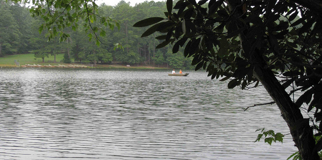 Boating on the lake at Oconee State Park in Upstate South Carolina