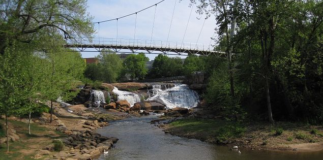 Head to Falls Park in downtown Greenville, SC for scenic views and family fun.