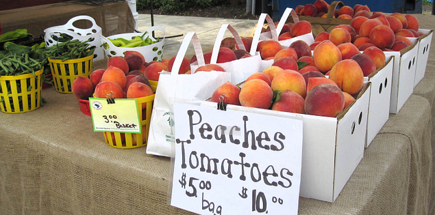 Fruit and vegetables from Livingston Farms being sold at a farmers' market