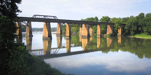 Railroad bridge over the Congaree River in Columbia, South Carolina