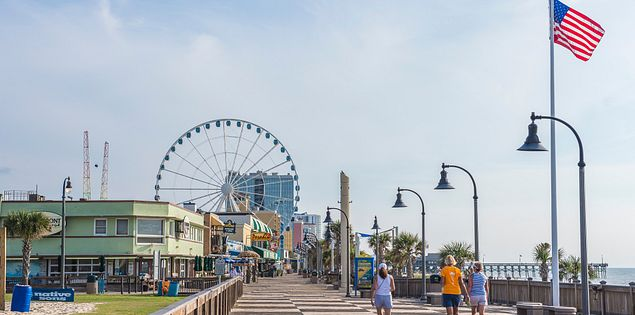 The boardwalk and Skywheel in Myrtle Beach