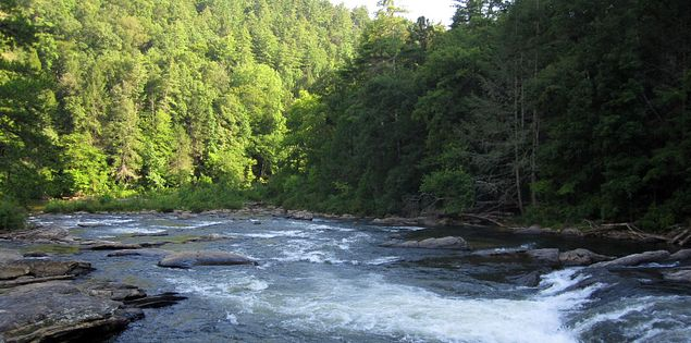 Woodall Shoals rapid on the Chattooga River in Upstate South Carolina