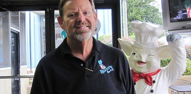 Owner of Bucky's Bar-B-Q, Wayne Preston, in Greenville, South Carolina
