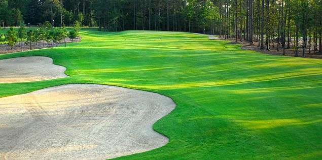 The bunkers on the 7th hole at South Carolina's Pine Lakes