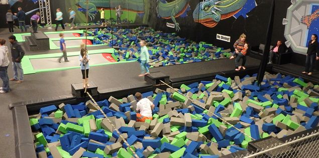 Foam pit at HiWire Trampoline Park