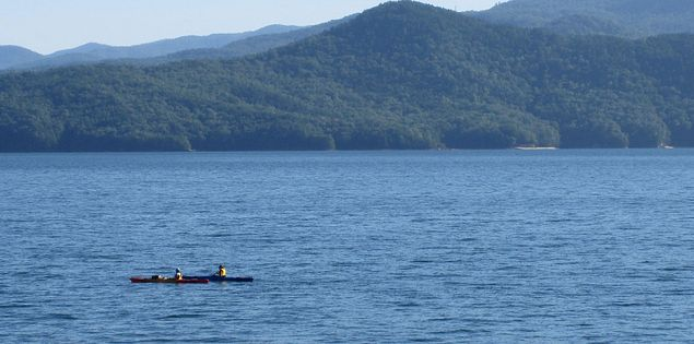 Popular Kayak spot on Lake Jocassee